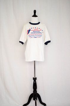 Vintage 1986 'Sharp Shooter' Shooting Championship Ringer Tee Size M / L by BeehausVintage on Etsy