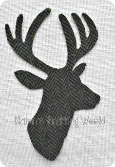 1x8in Hebridean Nut Brown Stag Head,Harris Tweed Wool,Cut Out,Iron On,Appliqué 2 £3 plus P&P.
