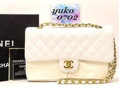 """w501 Auth CHANEL White Caviar Skin 10"""" Double Flap Chain Shoulder Bag Gold HW"""