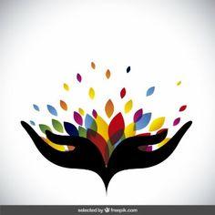renkli yaprakları ile soyut logosu