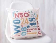 A bold and unique, personalised coordinates cushion that is sure to add a statement piece to your home.