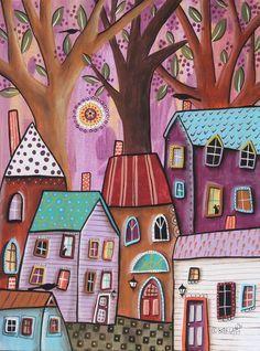 Friday Landscape 12x16 ORIGINAL CANVAS PAINTING houses FOLK ART Karla Gerard #FolkArtAbstractPrimitive