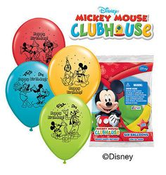 "6 pc 12"" Mickey Mouse Party Latex Balloons Happy Birthday Minnie Goofy Donald"