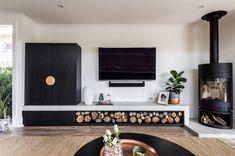 Log Burner Living Room, Living Room Decor Fireplace, Open Plan Kitchen Living Room, Home Fireplace, Living Room Tv, Home And Living, Fireplaces, Contemporary Fireplace Designs, Freestanding Fireplace