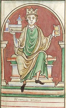 Henry I (c. 1068/1069 – 1 December 1135) was the fourth son of William I of England. He succeeded his elder brother William II as King of England in 1100 and defeated his eldest brother, Robert Curthose, to become Duke of Normandy in 1106.