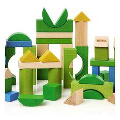 50 Cubes en bois colorés,  Brio 30147