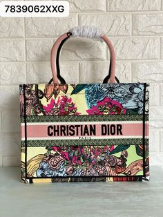 Christian Dior book tote flowers floral pink yellow white small size Dior Bags, Pink Yellow, Christian Dior, Totes, Burlap, Reusable Tote Bags, Book, Floral, Flowers