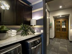 Laundry Room - Nice idea to have shelf space over washer/dryer and the cabinets are perfect for storing away laundry items so you don't see them.