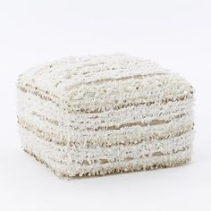 West Elm Stripe Moroccan Wedding Pouf, Ivory ($100) ❤ liked on Polyvore featuring home, furniture, ottomans, beige furniture, antique white furniture, striped furniture, cream furniture and moroccan ottoman