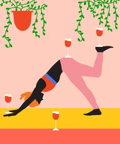 Seek this important graphic and take a look at the shown ideas on yoga tutorial Drunk Yoga, Yoga Today, Yoga Illustration, Yoga For Stress Relief, Wine Art, Restorative Yoga, Yoga Art, Yoga Tips, Yoga Benefits