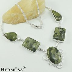 Rare Natural Green Jasper Graceful 925 Sterling Silver Chain Necklace 18'' N9 #Hermosa #ChainCharm