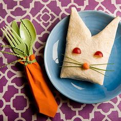 Cut a triangle into one end of a burrito for a bunny-inspired lunch. | 29 Insanely Easy Ways To Get Ready For Easter