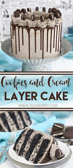 and Cream Cake Cookies and Cream Cake - this epic cookies and cream layer cake will satisfy ALL of your chocolate cravings! It has rich devil's food cake plus buttercream with lots of cookie crumbs mixed right in. Bolo Cookies And Cream, Cookies And Cream Frosting, Cookies And Creme Cupcakes, Cookies N Cream Cake Recipe, Oreo Frosting, Cookies And Cream Cheesecake, Buttercream Cupcakes, Layer Cake Recipes, Dessert Recipes