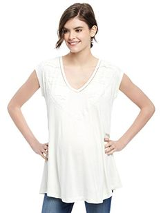 8e5243381a0dd Motherhood Wendy Bellissimo Lace Trim Maternity Top at Amazon Women's  Clothing store: