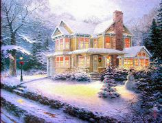 "Thomas Kinkade Victorian Christmas III Cross Stitch Pattern***L@@K***YOUR FINISHED PATTERN SIZE. 360 Stitches x 288 Stitches 20.0"" X 16.0"" ON (18 COUNT) AIDA CLOTH. ~~ I SEND WORLD-WIDE ~~Free"