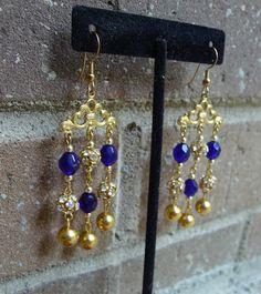 Great Gatsby Earrings, Vintage Chandelier Earrings Gold Chandelier, Rhinestone Dangles Long Chandelier, Blue Vintage Glass, Sparkly Earrings