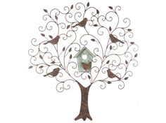 Large Metal & Wood Tree Wall Decor with Birds