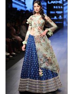 Royal blue lehenga with floral blouse - Anushree Reddy - Designers Floral Lehenga, Lehenga Blouse, Floral Blouse, Saree, Indian Bridal Outfits, Indian Dresses, Indian Clothes, Designer Gowns, Indian Designer Wear