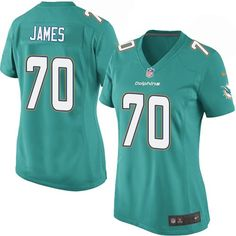 2f7be716 Nike Game Ja'Wuan James Aqua Green Women's Jersey - Miami Dolphins #70 NFL