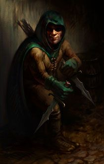 Halfling wearing green hooded cloak and gloves and holding two knives. Via PlanetBaldursGate.