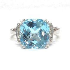 Cushion Blue Topaz Engagement Ring Pave Diamond Wedding 14K White Gold,11mm - Lord of Gem Rings - 1