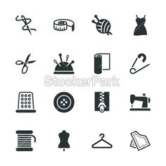 Sewing Silhouette Icons | Vector | StockerPark