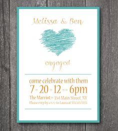 Custom Printable Engagement Invitation,- Modern scketch heart on Etsy, $15.93 AUD