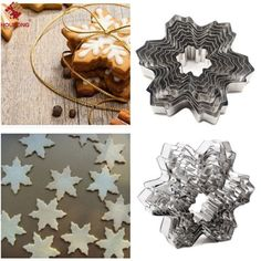 9Pcs Star Snowflake Biscuit Cutter Cookie Stainless Steel Fondant Cake Mould Set