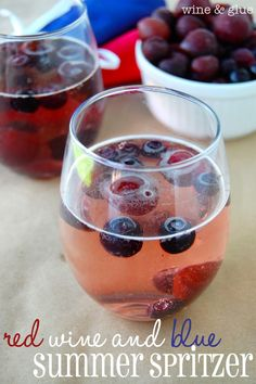 Red Wine & Blue Summer Spritzer.  Easy, delicious, and refreshing! via www.wineandglue.com