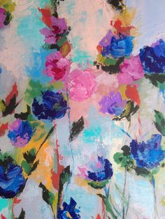 Abstract flowers painting titled Color 2424 Abstract