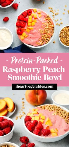 This creamy smoothie bowl is made with tart raspberries and sweet peaches for a delicious breakfast! Add your favorite toppings to this super thick smoothie. #raspberry #protein #easy #vegan #breakfast Easy Healthy Smoothie Recipes, Delicious Breakfast Recipes, Yummy Smoothies, Fruit Recipes, Vegan Breakfast, Drink Recipes, Breakfast Ideas, Dairy Free Recipes, Easy Recipes