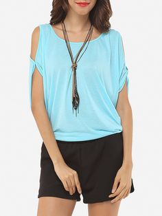 Batwing Off Shoulder Cotton Hollow Out Casual T-shirts - fashionme.com