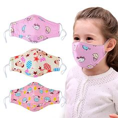 Dust Mask for Kids,Aniwon 3 Pcs Kids Mouth Face Mask with 6 Pcs Activated Carbon Filter Insert,Washable Cute Cotton Mouth Mask with Adjustable Straps (Pink) Face Masks For Kids, Easy Face Masks, Best Face Mask, Diy Face Mask, Sewing Patterns Free, Free Sewing, Sewing Hacks, Sewing Tutorials, Mouth Mask Design