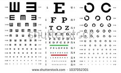 Eye Test Chart Vector. Vision Exam. Optometrist Check. Medical Eye Diagnostic. Different Types. Sight, Eyesight. Optical Examination. Isolated On white Illustration