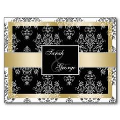 gold monogram damask Save the Date Post Card