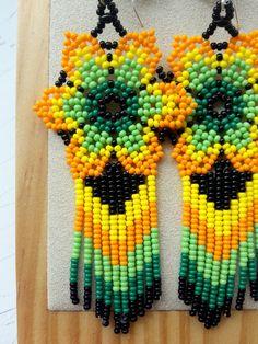 Mexican Huichol Seed Bead Earrings | Etsy Beaded Flowers Patterns, Beaded Necklace Patterns, Seed Bead Patterns, Beading Patterns, Brick Stitch Earrings, Seed Bead Earrings, Etsy Earrings, Seed Beads, Fabric Earrings