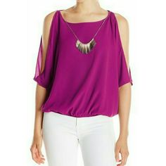 Could shoulder  blouse An elegant necklace complements this beautiful blouse.  It's  flowie  and  comfortable.  Berry color.  Bubble  hem.  The necklace is removable,  as the last picture shows.  97% Polyester  and  3% Spandex. Iz Byer Tops Blouses