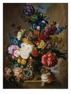 Poppies, Peonies and Other Assorted Flowers in a Terracotta Vase on a Stone Plinth with a Bird's Ne Gicléedruk van Jan van Os bij AllPosters.nl