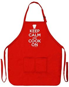 Keep Calm and Cook On Funny Apron for Kitchen Cooking Home Chef Two Pocket Apron for Women and Men Red >>> This is an Amazon Affiliate link. Read more reviews of the product by visiting the link on the image.