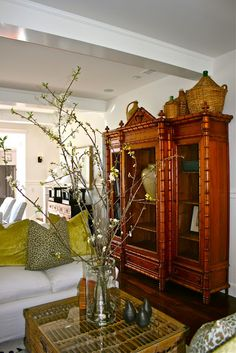Tropical-chic Design...faux bamboo armoire