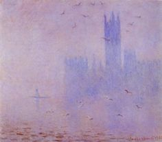 Claude Monet. Gulls . River Thames in London. Houses of Parliament . 1904