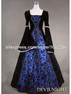 zwarte en blauwe bloemen patroon middeleeuwse renaissance kostuum gratis verzending(China (Mainland))