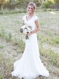 nice New 2015 Design Elegant V-neck Mermaid spanish Vintage Cap Sleeve Modest White Lace Wedding Dresses vestido noiva curto