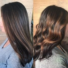 Caramel balayage by Allison, captured straight and wavy!