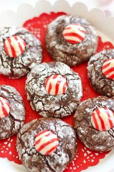 Chocolate Peppermint Kiss Crinkle Cookies