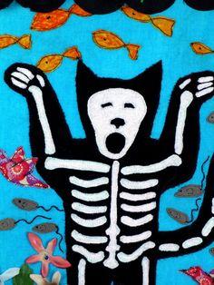 day of the dead cat - dia de los muertos wall art. $50.00, via Etsy.