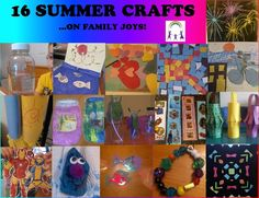 16 Summer Crafts!~* Enjoy these fun summer inspired kids crafts! Watercolor, ocean scene, sensory bottle, fish crafts, mosiacs, fireflies, wind sock, bookmarks, chinese lanterns, super heros, rock monster, jewelry and tissue papers crafts...on FAMILY JOYS!