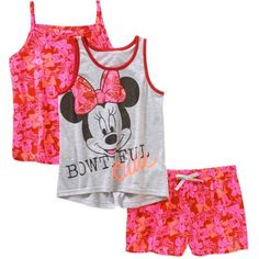 Minnie Mouse Girls' Tank, Cami, and Shorts 3 Piece Set