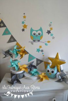decoration baby room baby owl star turquoise caribbean yellow mustard silver gray Source by Baby Boy Rooms, Baby Room, Student Room, Baby Owls, Home Interior, Kids Room, Room Decor, Yellow, Crafts