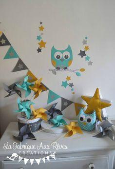 décoration chambre enfant bébé hibou étoiles turquoise caraïbe jaune moutarde gris argenté